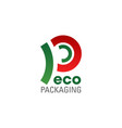 eco packaging symbol of ecology friendly company vector image
