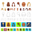female hairstyle cartoon icons in set collection vector image vector image