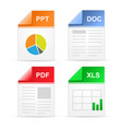 filetype format icons - ppt doc pdf xls vector image