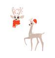 flat christmas reindeer isolated set vector image vector image