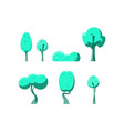 flat green trees set vector image