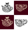 Floral Ornamental Teapot and Cup Set vector image