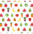 fresh fruits and vegetables pattern vector image