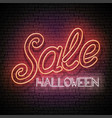 glow greeting card with halloween sale inscription vector image vector image
