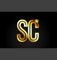 gold alphabet letter sc s c logo combination icon vector image vector image