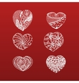 Hand Drawn Valentines Day doodle Hearts Collection vector image vector image