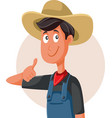 happy farmer with thumbs up making ok sign vector image