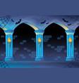 haunted castle interior background vector image vector image