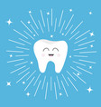healthy tooth icon with smiling face cute cartoon vector image vector image
