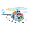 helicopter with two funny badgers vector image vector image