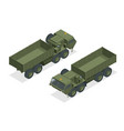 isometric diesel engine-powered military truck vector image