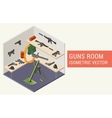 Isometric guns room vector image