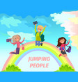 jumping people flat summer concept vector image vector image