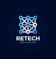 letter r tech logo creative initial r vector image vector image