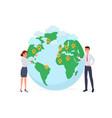 man and woman near globe symbol vector image