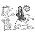medieval element decorative hand drawn vector image vector image