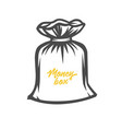 money bag black and white objects vector image vector image