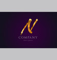 n gold golden alphabet letter logo icon design vector image