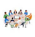 office workers sitting at round table and vector image vector image