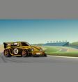old vintage racing car at circuit vector image