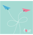 Origami paper plane in the sky with dash line bow vector image vector image