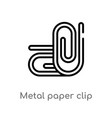 outline metal paper clip icon isolated black vector image vector image