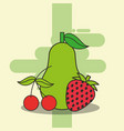 pear cherry and strawberry fresh delicious vector image