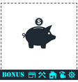 Pig money box icon flat vector image