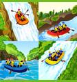 rafting banner set cartoon style vector image