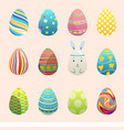 realistic 3d easter eggs painted with vector image vector image