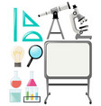 science objects and whiteboard vector image