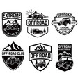set four off-road suv car emblems extreme vector image