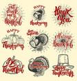set happy thanksgiving badges turkey pumpkin vector image