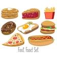 Set of cartoon fast food