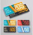 set of gift vouchers with floating leaves over vector image vector image