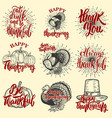 set of happy thanksgiving badges turkey pumpkin vector image vector image