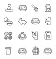 set various pet litter accessories lineart icon vector image vector image
