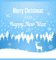 silhouette christmas deer on winter forest vector image vector image