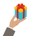 Small gift box in a mans hand vector image vector image