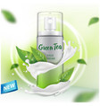 spray mock up with green tea extract advertising vector image