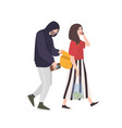 thief pickpocket or rubber dressed in hoodie vector image vector image