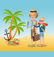 traveling tourist camera glasses anchor palm sand vector image