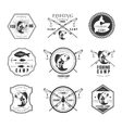 Vintage pike fishing emblems labels and design vector image