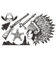 vintage wild west elements set vector image