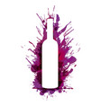 wine bottle in front colorful grunge splashes vector image
