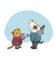 winter postcard cute cartoon cat and dog vector image vector image