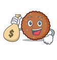 with money bag chocolate biscuit character cartoon vector image vector image