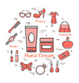 woman accessories concept with red hand cream icon vector image vector image
