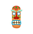 wooden oblong shaped african mask with screaming vector image