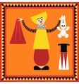 Funny clown shows a trick with a rabbit vector image